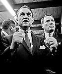 Modesto, California November 22, 1967.Former Alabama Governor George Wallace came to California in an attempt to put his American Independent Party candidacy on the 1968 ballot.  In Modesto his appearance was held at the Sandpiper Steak House on McHenry Ave.  The Governor's entourage was 25 or so people.   Thirteen of the staff were Alabama State Police and the others were campaign workers including several lawyers and one Judge.  .