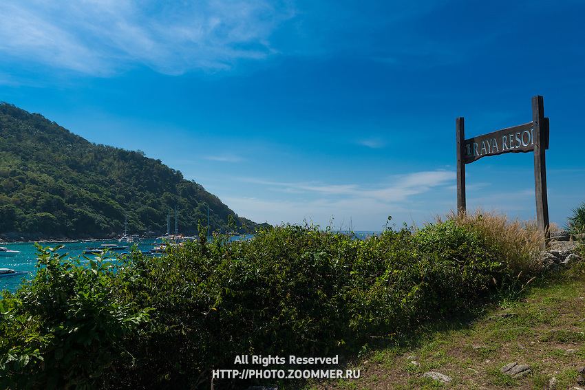 Raya resort viewpoint and sign, Raya island, Thailand