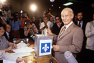 Montreal, Canada, May 20, 1980. Called by the Parti Quebequois (PQ) government, the first referendum on whether Quebec should pursue a path toward sovereignty took place. The OUI (yes) party was defeated by a 59.56 percent to 40.44 percent margin for the NO party. Rene Levesque, former President of Quebec and founder of the PQ deliver his vote during the referendum.