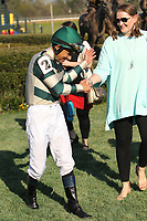 HOT SPRINGS, AR - MARCH 18: Jockey Mike Smith aboard Mor Spirit #2, in winners circle after winning the Essex Handicap race at Oaklawn Park on March 18, 2017 in Hot Springs, Arkansas. (Photo by Justin Manning/Eclipse Sportswire/Getty Images)