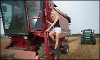 BNPS.co.uk (01202 558833)<br /> Pic: PhilYeomans/BNPS<br /> <br /> Katy (21) drives the combine harvester.<br /> <br /> Far from the Madding Crowd - Land Girls...Plucky mum and her daughters running the family farm in the heart of Dorset.<br /> <br /> Widow Carol Besent is getting a bumper harvest in this year with the help of her three daughters Georgina, Harriet and Katy.<br /> <br /> Carol's husband died four years ago and rather than give up the family farm Carol and her daughters have taken the unusual step of running the 700 acre mixed arable and dairy farm themselves.