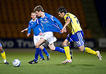 St Johnstone v Kilmarnock..28.12.11   SPL .Murray Davidson fouled by Manuel Pascali.Picture by Graeme Hart..Copyright Perthshire Picture Agency.Tel: 01738 623350  Mobile: 07990 594431
