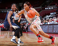 Ohio State Buckeyes guard Maleeka Kynard (12) is guarded by Old Dominion Lady Monarchs guard Galaisha Goodhope (5) during Friday's NCAA Division I basketball game at Value City Arena in Columbus on November 22, 2013. Ohio State led at halftime, 36-26. (Barbara J. Perenic/The Columbus Dispatch)