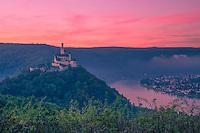 Marksburg Castleat dawn ,   Rhine River, Germany , Rhineland Region. 13th Century Castle Upper Middle Rhine Valley UNESCO World Heritage Site