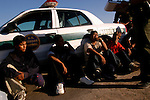 Illegal aliens wait to be processed after being apprehended by the U.S. Border Patrol in the desert near El Centro, Calif. on Wednesday, March 30, 2005. The five aliens walked through the desert for about three hours, and made it aboutfive miles into the U.S. before being nabbed by the Border Patrol.<br />