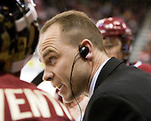 Mike Cavanaugh (BC - Associate Head Coach) - The visiting Boston College Eagles defeated the Boston University Terriers 3-2 to sweep their Hockey East series on Friday, January 21, 2011, at Agganis Arena in Boston, Massachusetts.