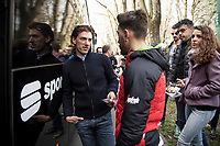 Fabian Cancellara (SUI) visiting his former teammates on the bus at the start and bumping into recovering team sprinter Giacomo Nizzolo (ITA/Trek-Segafredo)<br /> <br /> pre-race preparations at the Team Trek-Segafredo bus<br /> <br /> 108th Milano - Sanremo 2017