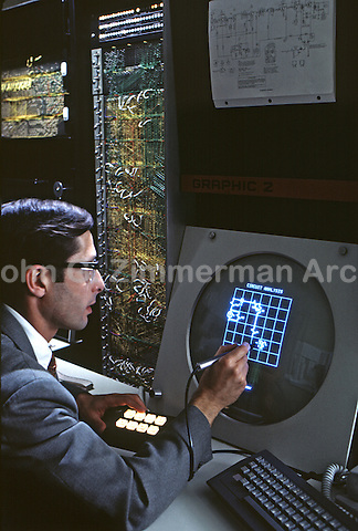 Early Digital artist at work at Bell Telephone Labs in New Jersey, 1968. Photo by John G. Zimmerman.