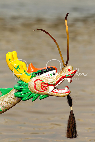 Photo of the colorful face of a dragon boat ready to race in the Charlotte Dragon Boat races on Lake Norman.