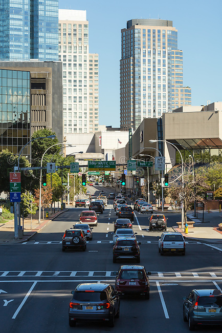 Midday traffic heads for the downtown area of White Plains, New York.