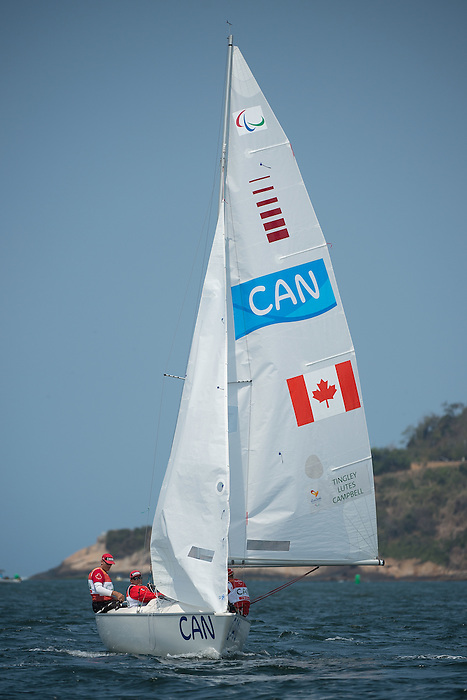 RIO DE JANEIRO - 17/9/2016:  Paul Tingley, Scott Lutes and Logan Campbell compete in the 3-Person Keelboat (Sonar) at the Marina da Gloria during the Rio 2016 Paralympic Games in Rio de Janeiro, Brazil. (Photo by Matthew Murnaghan/Canadian Paralympic Committee)