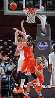 Ohio States Ashley Adams (33) attempts to block a shot by Illinois Jaqui Grant (34) in the first half of their game against the Illinois Fighting Illini at the Value City Arena in Columbus, Ohio on January 30, 2014. (Columbus Dispatch photo by Brooke LaValley)