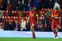 LIVERPOOL, ENGLAND - Thursday, October 4, 2012: Liverpool's captain Jamie Carragher and Sebastian Coates walk off dejected as his side lose 3-2 to Udinese Calcio during the UEFA Europa League Group A match at Anfield. (Pic by David Rawcliffe/Propaganda)