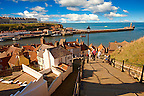 199 steps overlooking Whitby harbour. North Yorkshire, England