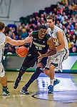 26 January 2014: Binghamton University Bearcat Forward Roland Brown, a Senior from Queens, NY, in action against the University of Vermont Catamounts at Patrick Gymnasium in Burlington, Vermont. The Catamounts defeated the Bearcats 72-39. Mandatory Credit: Ed Wolfstein Photo *** RAW (NEF) Image File Available ***