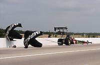 May 1, 2011; Baytown, TX, USA: NHRA top fuel driver Terry McMillen during the Spring Nationals at Royal Purple Raceway. Mandatory Credit: Mark J. Rebilas-
