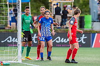 Boston, MA - Friday May 19, 2017: Adrianna Franch, Nadia Nadim and Angela Salem during a regular season National Women's Soccer League (NWSL) match between the Boston Breakers and the Portland Thorns FC at Jordan Field.