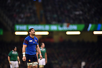 Pascal Pape of France looks on during a break in play. Rugby World Cup Pool D match between France and Ireland on October 11, 2015 at the Millennium Stadium in Cardiff, Wales. Photo by: Patrick Khachfe / Onside Images
