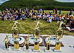 22 May 2016: The Vermont Commons School Flying Turtles take home the first place trophy, winning the Open B Division of the Pioneer Valley Ultimate Disk Invitational Tournament at the Oxbow Marina Fields in Northampton, Massachusetts. Mandatory Credit: Ed Wolfstein Photo *** RAW (NEF) Image File Available ***
