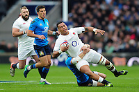 Nathan Hughes of England is tackled to ground. RBS Six Nations match between England and Italy on February 26, 2017 at Twickenham Stadium in London, England. Photo by: Patrick Khachfe / Onside Images