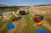"""Great Reno Balloon Race 2"" - The 2011 Great Reno Balloon Race balloons photographed from a hot air balloon. A tilt-shift lens was used to achieve the ""toy"" like look."