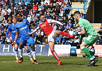 Fleetwood Town's David Ball is foiled by Gillingham's Tomas Holy<br /> <br /> Photographer Rob Newell/CameraSport<br /> <br /> The EFL Sky Bet League One - Gillingham v Fleetwood Town - Saturday 22nd April 2017 - MEMS Priestfield Stadium - Gillingham<br /> <br /> World Copyright &not;&copy; 2017 CameraSport. All rights reserved. 43 Linden Ave. Countesthorpe. Leicester. England. LE8 5PG - Tel: +44 (0) 116 277 4147 - admin@camerasport.com - www.camerasport.com