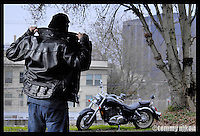Motorcyclist heading out to his mount
