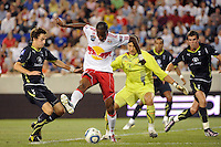 Macoumba Kandji (10) of the New York Red Bulls attempts a back heel shot. Tottenham Hotspur F. C. defeated the New York Red Bulls 2-1 during a Barclays New York Challenge match at Red Bull Arena in Harrison, NJ, on July 22, 2010.
