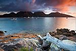 Sunset view of Coles Bay, with The Hazards range beyond.  Freycinet National Park, Tasmania, AUSTRALIA.