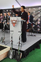 """Washington D.C. - February 27, 2017: Groundbreaking ceremony for the new stadium for D.C. United """"Audi Field"""" in the Southwest Waterfront District at Navy Yard which is scheduled to open 2018."""