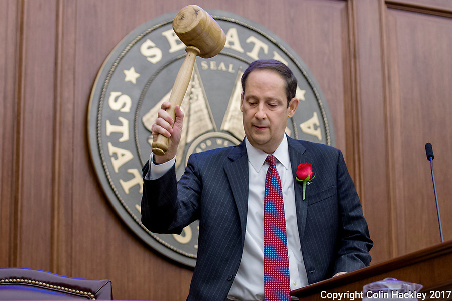 TALLAHASSEE, FLA. 3/7/17-Senate President Joe Negron, R-Stuart, gavels the Senate to order during opening day of the 2017 legislative session at the Capitol in Tallahassee.<br /> <br /> COLIN HACKLEY PHOTO