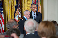 Washington DC, July 18,2016, USA:   President Barach Obama and Lt. Col Charles Kettles, USA (ret) pose for pictures after Kettles was awarded the Medal of Honor for his actions in the Viet Nam war. Patsy Lynch/MediaPunch