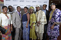 New York City, NY. October 20, 2014. (for Aase Yaa) Rubie Williams, Osei Williams, Yao Ababio, Maimo Unakane, Fatou Gittens, Kwesi Mkroma, Gene Osborn Jr., Kwesi Lateef Abel. The 30th anniversary of The Bessies, the New York Dance and Performance Awards, are held at the world famous Apollo Theatre in Harlem. Photo by Marco Aurelio/VIEWpress