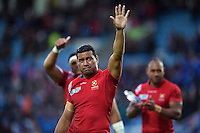 Siale Piutau of Tonga waves to the crowd after the match. Rugby World Cup Pool C match between Tonga and Namibia on September 29, 2015 at Sandy Park in Exeter, England. Photo by: Patrick Khachfe / Onside Images