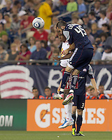 New York Red Bulls forward Juan Agudelo (17) and New England Revolution defender Ryan Cochrane (45) battle for head ball. In a Major League Soccer (MLS) match, the New England Revolution tied New York Red Bulls, 2-2, at Gillette Stadium on August 20, 2011.