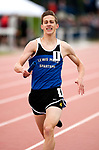 LITCHFIELD,  CT-052017JS03- Lewis Mills' John Mudgett anchors the 4x800M relay during the Berkshire League Outdoor Track and Field Championships Saturday at the Plumb Hill Sports Complex in Litchfield. The team of Mudgett, Nicholas O'Brien, Winthrop Hayes and Jon Lewis, set a new Berkshire League record.  <br /> Jim Shannon Republican-American
