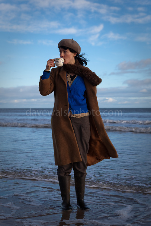 Sue drinking tea at Curracloe Beach, Wexford, Christmas Day 2012.