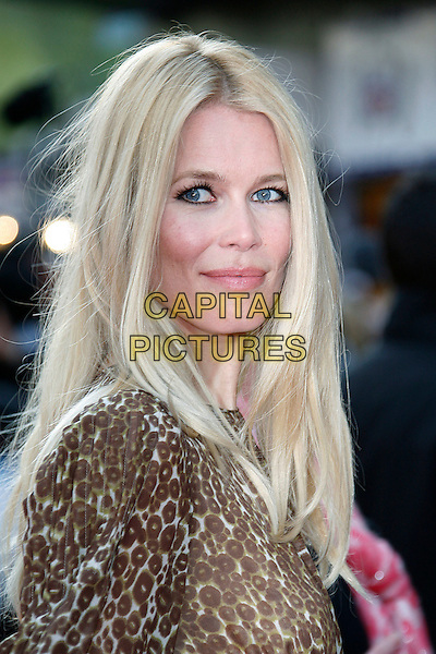 """CLAUDIA SCHIFFER .Arriving at the UK Film Premiere for """"Flashbacks Of A Fool"""", Empire Leicester Square, London, England, .April 13th 2008. .portrait headshot brown leopard print .CAP/DAR.©Darwin/Capital Pictures"""