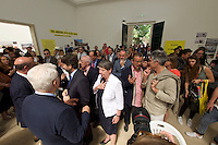 Venice, Italy - 15th Architecture Biennale 2016, &quot;Reporting from the Front&quot;.<br /> Giardini.<br /> German Pavilion. MAKING HEIMAT. Germany, Arrival Country. Opening with German Minister of Construction, Mrs. Barbara Hendricks (white jacket), here with Biennale President Paolo Baratta (l.), Commissioner Peter Cachola Schmal (2nd from r.) and Architecture Biennale 2016 Director Alejandro Aravena (r.).