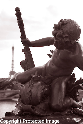 Sculpture Figure on Pont Alexandre Bridge, Paris