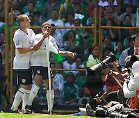 Michael Bradley and Charlie Davies celebrate Davies' goal. USA Men's National Team loses to Mexico 2-1, August 12, 2009 at Estadio Azteca, Mexico City, Mexico. .   .