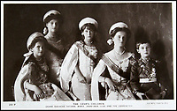 BNPS.co.uk (01202 558833)<br /> Pic: HAldridge/BNPS<br /> <br /> The Tsar's children.<br /> <br /> Poignant photographs of the last Russian royal family visiting their British relatives - the King and Queen of Britain - have come to light.<br /> <br /> The black and white images show Tsar Nicholas II, his wife Alexander and their children at Osborne House on the Isle of Wight in 1909 with Edward VII and his wife, Mary of Teck.<br /> <br /> The images show just how close the two Royal families were. <br /> <br /> The album of up to 100 photo postcards is being sold for &pound;1,500 by Henry Aldridge and Son.