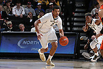 28 February 2016: Wake Forest's Devin Thomas. The Wake Forest University Demon Deacons hosted the Virginia Tech Hokies at Lawrence Joel Veterans Memorial Coliseum in Winston-Salem, North Carolina in a 2015-16 NCAA Division I Men's Basketball game. Virginia Tech won the game 81-74.