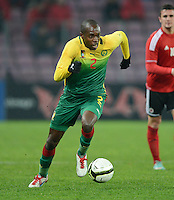 FUSSBALL   INTERNATIONAL   Testspiel    Albanien - Kamerun       14.11.2012 Allan Romeo Nyom (Kamerun) am Ball