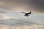 Sea plane silhouetted against the sky,Vancouver, Canada