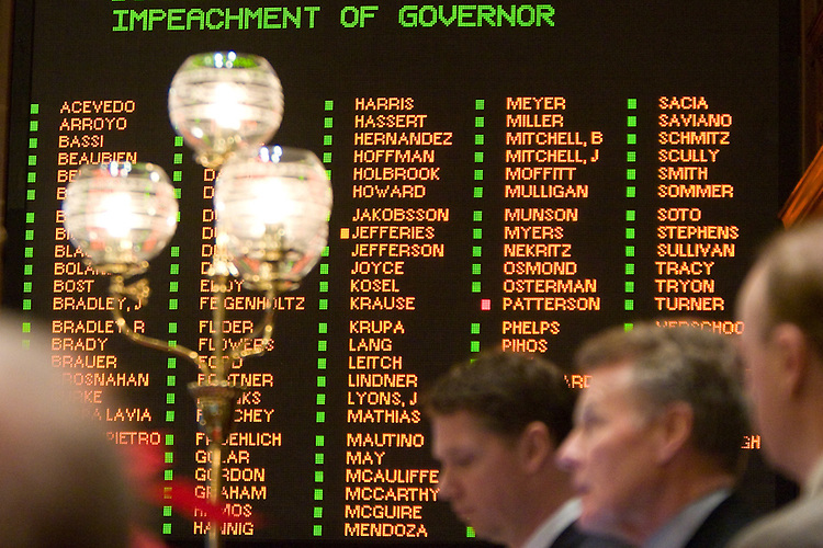 The Illinois House votes to impeach Gov. Rod Blagojevich, 114-1 and 1 present, appear behind Illinois Speaker of the House Michael Madigan, D-Chicago, right, and counsel to Madigan and the House impeachment committee David Ellis, left, at the Illinois State Capitol in Springfield, Ill., Friday, January 9, 2009.