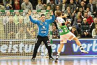 vorne rechts Marcel Schiller (FAG) beim Siebenmeter Wurf gegen mitte Magnus Staub (Pfadi) im Tor
