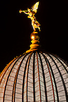 "Statue of an angel holding the ""Trumpet of Fame"" atop the glass dome known as the Lemon Squeezer (Zitronenpresse) on the Kunstakademie (Art Academy), Dresden, Saxony, Germany"