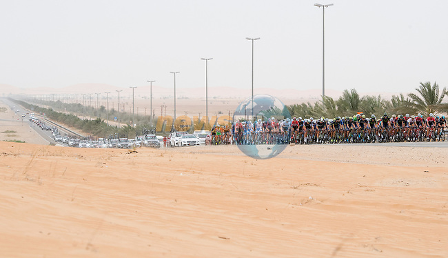 The peloton in action during Stage 3 Al Maryah Island Stage of the 2017 Abu Dhabi Tour, starting at Al Ain and running 186km to the mountain top finish at Jebel Hafeet, Abu Dhabi. 25th February 2017<br /> Picture: ANSA/Claudio Peri | Newsfile<br /> <br /> <br /> All photos usage must carry mandatory copyright credit (&copy; Newsfile | ANSA)