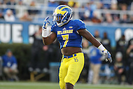 Newark, DE - October 29, 2016: Delaware Fightin Blue Hens defensive back Ray Jones (7) in action during game between Towson and Delware at  Delaware Stadium in Newark, DE.  (Photo by Elliott Brown/Media Images International)